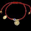 Браслет «крестик и голубка» на веревочке серебро/золочение