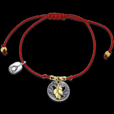 Браслет красная нить «Голубь и веточка» серебро/золото