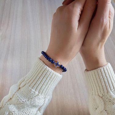 Православные браслет-чётки «Лазурит» с эмалью