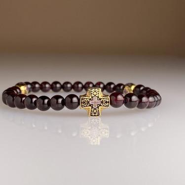 Православные браслет-чётки «Гранат» горячая эмаль