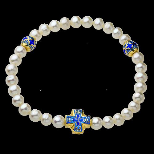 Православный браслет-чётки из жемчуга с эмалью
