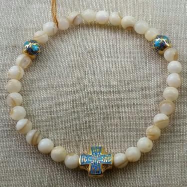 Православные браслет- чётки из перламутра с эмалью