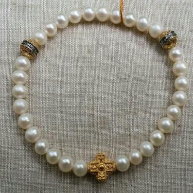 Православные браслет-чётки «Жемчуг» серебро/золочение