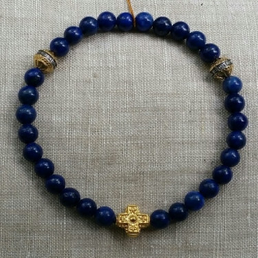 Православные браслет-чётки «Лазурит» серебро/золочение
