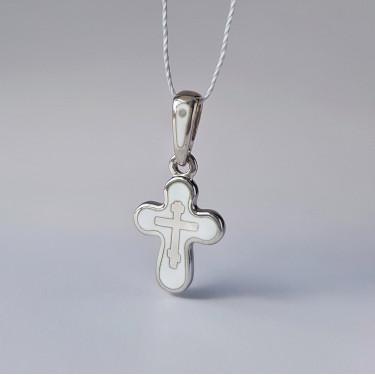Детский крестик с горячей эмалью белый «КРЭ13» серебро/родий