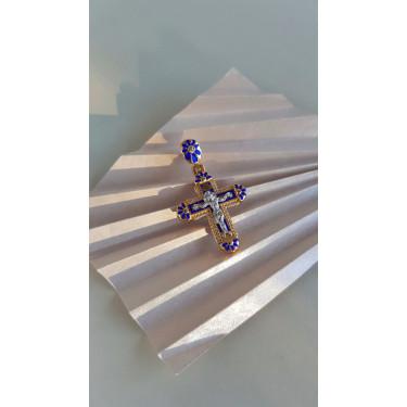Нательный крест с камнями КРЭ 115 серебро/золочение