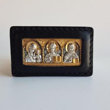 Дорожная икона со Св. Николаем Чудотворцем серебро/золочение