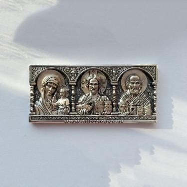 Дорожная икона из серебра со Св. Николаем