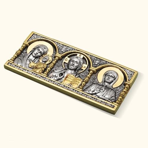 Дорожная икона с Матроной серебро с позолотой