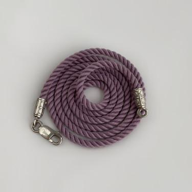 Шнурок на шею для детей и взрослых серебро/родий фиолетовый