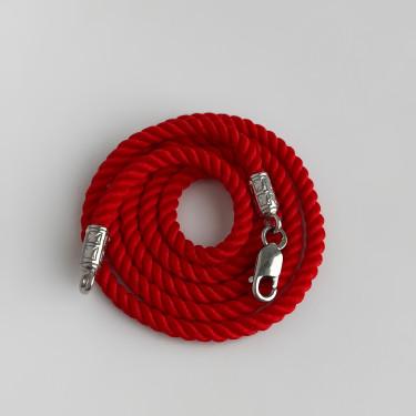 Шнурок на шею для детей и взрослых серебро/родий красный
