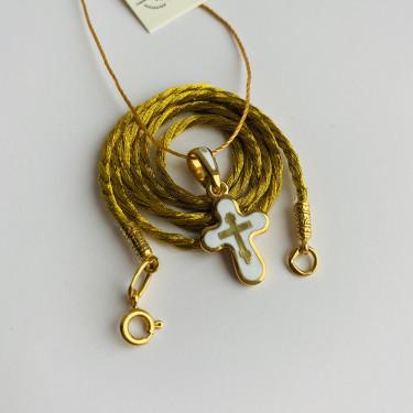 Шнурок на шею золотистый  с позолоченным наконечником