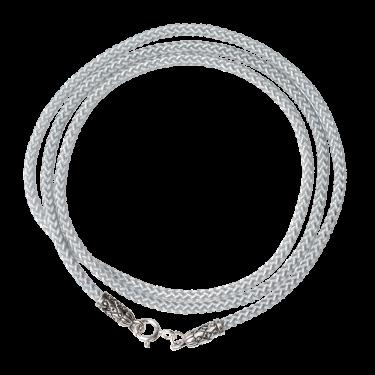 Шнурок на шею с серебряным наконечником серый