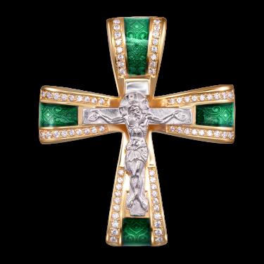 Нательный крест-бант с камнями и эмалью КРЭ 110 серебро/золочение