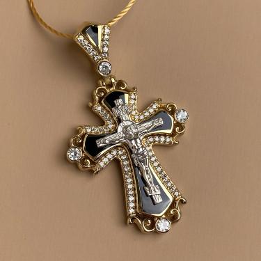 Нательный крест с камнями и эмалью Черный КЭ 119 серебро/золочение
