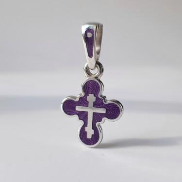 Детский крестик «КЭ23» фиолетовый серебро/родирование