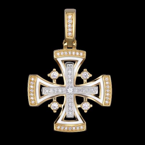 Нательный крест с камнями и эмалью «Мальтийский» КЭ 107 белый