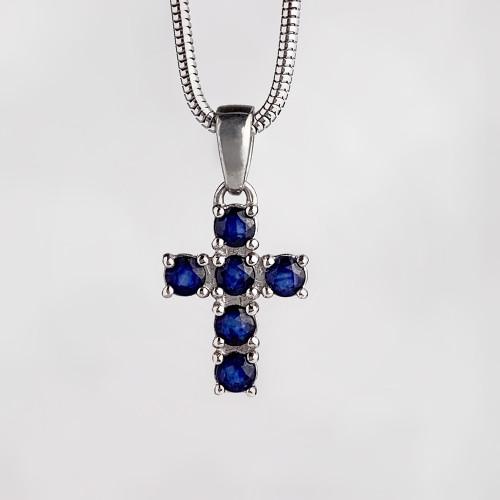 Крестик серебряный с сапфирами