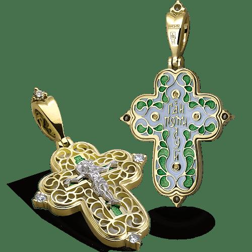 Нательный крест с камнями и эмалью КЭ 106 серебро/золочение