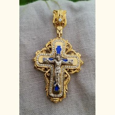 Нательный крест с камнями и эмалью КЭ 112 серебро/золочение