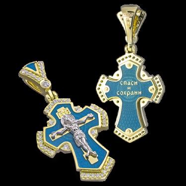 Нательный крест с камнями и эмалью КРЭ 118 серебро/золочение