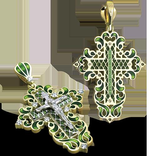 Нательный крест с камнями КРЭ 109 серебро/золочение