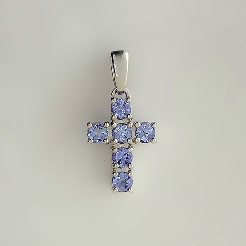 Нательный крестик с танзанитами серебро/родий