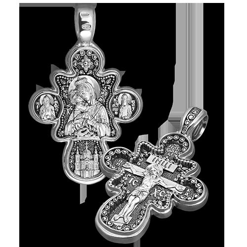Нательный крест «Почаевская Божья Матерь» серебро
