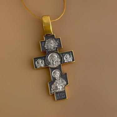 Мужской крест со св. Спиридоном и Казанской иконой серебро/золочение