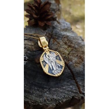 Нательная икона «св. Георгий Победоносец. Ангел Хранитель» ПД94 серебро/золочение