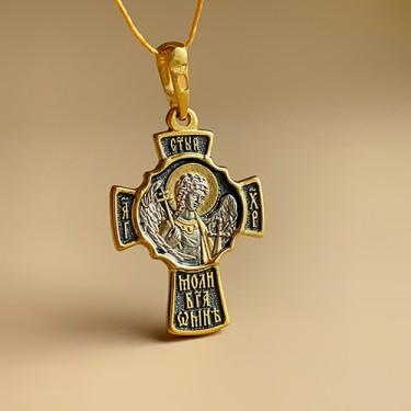 Крест с ангелом хранителем КР077 серебро/золочение