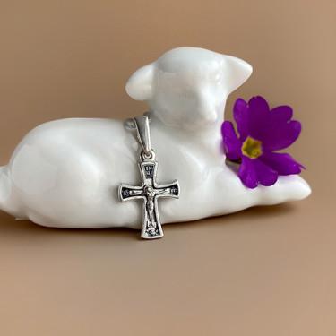 Крестильный крестик «Распятие» Кр071 с серебро