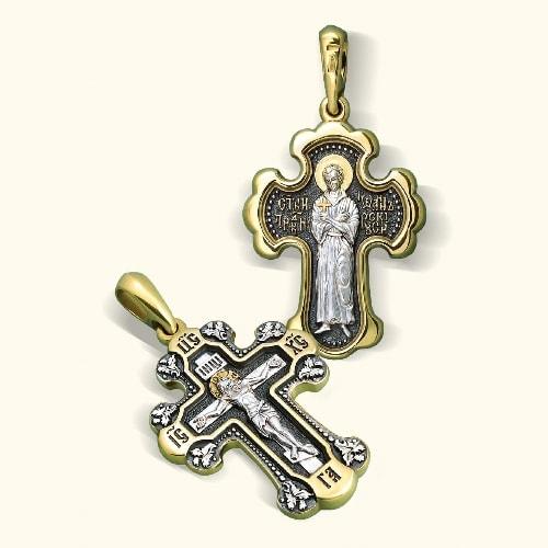 Нательный крест «Святой Иоанн Русский» серебро/золочение