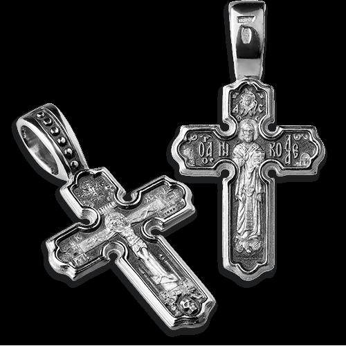 Крест нательный «св. Николай Чудотворец» серебро