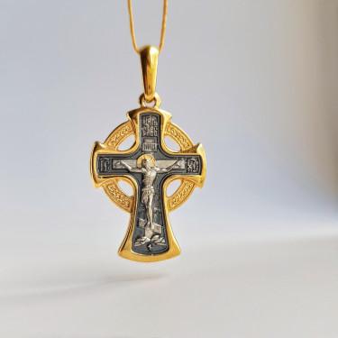 Нательный крест «Архангел Михаил» серебро/золочение