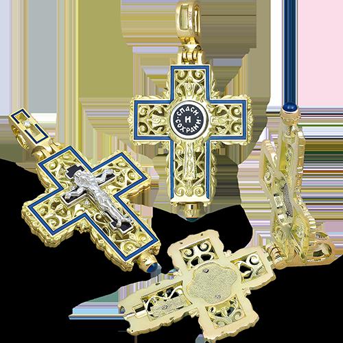 Нательный крест-мощевик КЭ111 серебро/золочение