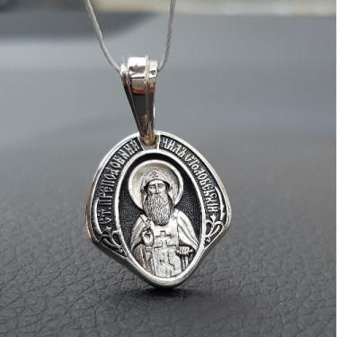 Нательная иконка «святой Нил Столобенский» серебро