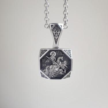 Нательная икона «св. Георгий Победоносец» ПД083 серебро