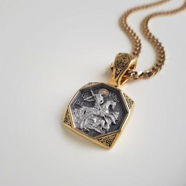 Нательная икона «св. Георгий Победоносец» ПД83 серебро/золочение