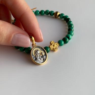 Православные браслет-чётки «Малахит» серебро/золочение